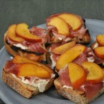 Grilled Bruschetta with Nectarines, Ricotta, and Prosciutto