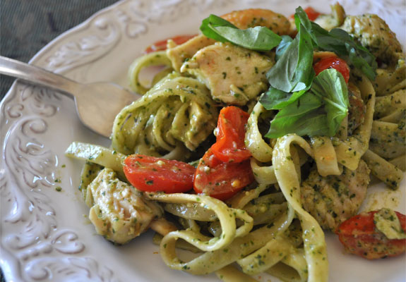 Chicken Pesto Pasta Fettucini with chicken , cherry tomatoes, and ...