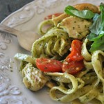 Fettucini with Chicken, Cherry Tomatoes, and Basil Pesto