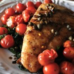Seared Halibut with Cherry Tomato and Caper Pan Sauce