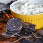 Caramelized Onion Dip with Oven Baked Sweet Potato Chips
