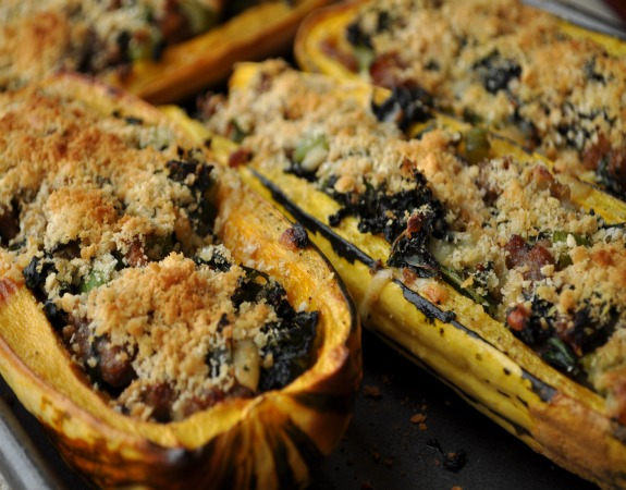 Kale and Sausage Stuffed Delicata Squash Recipe - Mountain Mama Cooks