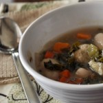 Chicken Meatball Soup with Gnocchi, Sweet Potato and Kale