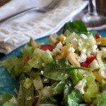 Chopped Greek Salad with Pita Chip Croutons