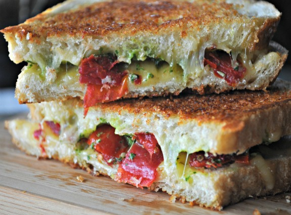 Grilled Cheese with Spicy Havarti, Cilantro Pesto & Roast Tomatoes ...