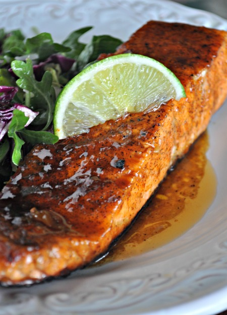 Sweet & Spicy Peach Glazed Salmon - Mountain Mama Cooks