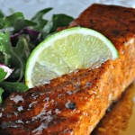 Sweet & Spicy Peach Glazed Salmon