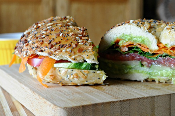 Veggie And Cheese Bagel Sandwich Recipe — Dishmaps
