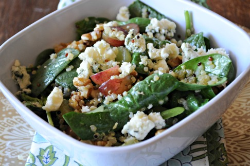 blue-cheese-salad-spinach-honey-lemon-rosemary-dressing