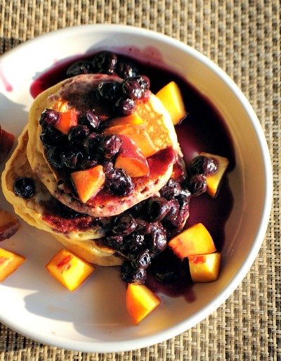 pancakes with peaches & blueberry-vanilla bean syrup, www.mountainmamacooks.com