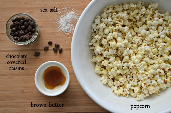 brown butter popcorn with sea salt and raisinets, www.mountainmamacooks.com