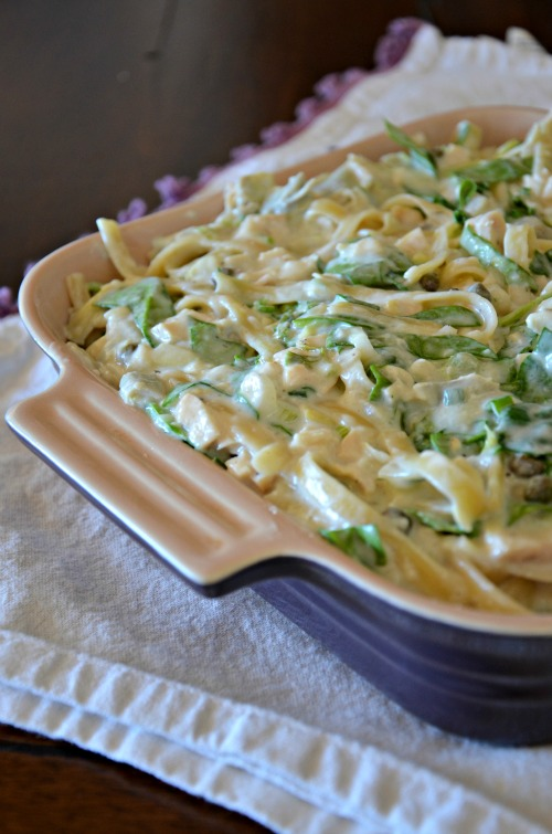 leftover chicken bake with spinach and artichoke hearts, www.mountainmamacooks.com