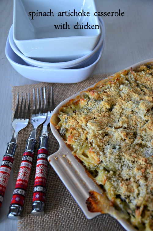 spinach artichoke casserole with chicken, www.mountainmamacooks.com #recipe #chicken #casserole