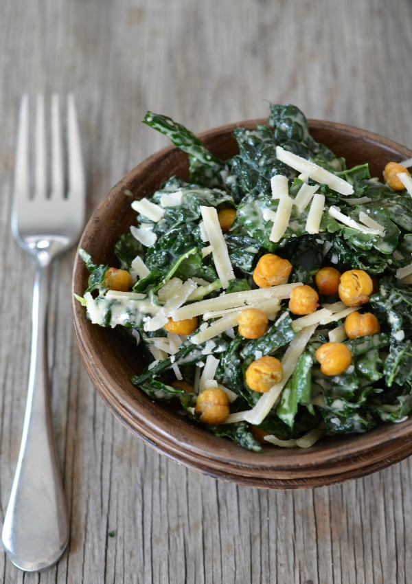 Kale Caesar Salad with Crispy Garbanzo Bean Croutons - Mountain Mama ...