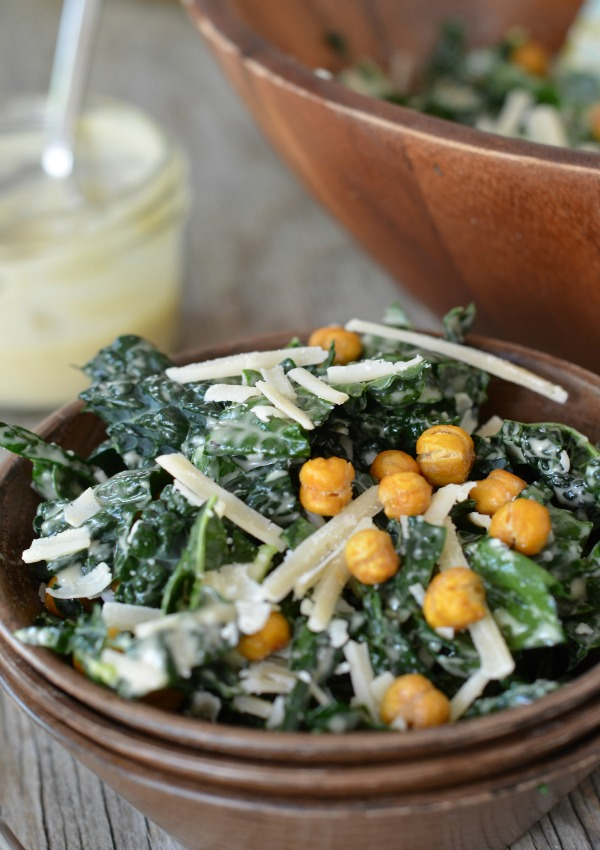 Kale Caesar Salad with Crispy Garbanzo Bean Croutons, www.mountainmamacooks.com