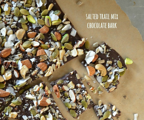 Salted Trail Mix Chocolate Bark- feature, www.mountainmamacooks.com