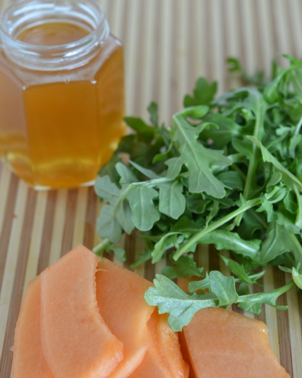 canteloupe, honey, arugula grilled cheese, www.mountainmamacooks.com