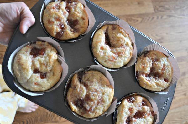 Jumbo Cream Cheese Jam Muffins, www.mountainmamacooks.com #highaltituderecipe #highaltitudebaking