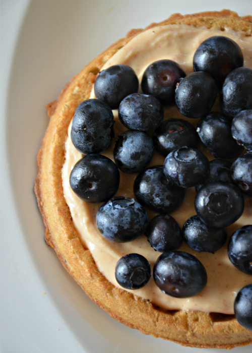 Waffles with Blueberries and Honey-Cinnamon Goat Cheese Spread, www.mountainmamacooks.com