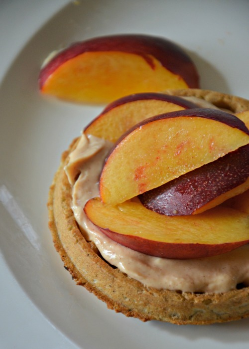 Waffles with Honey-Cinnamon Goat Cheese Spread & Peaches, www.mountainmamacooks.com