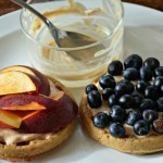 Waffles with Honey-Cinnamon Goat Cheese, Peaches & Blueberries + Vermont Creamery and Zutano Giveaway