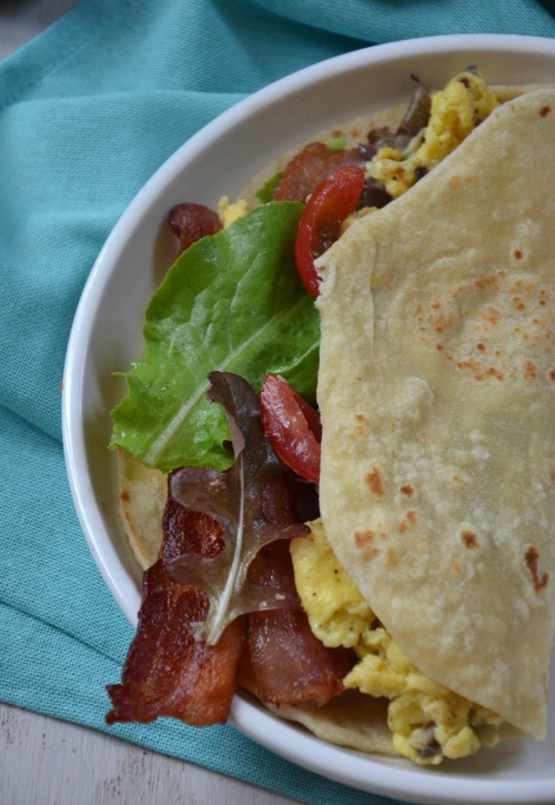 Bacon, Lettuce, Tomato Breakfast Taco, www.mountainmamacooks.com