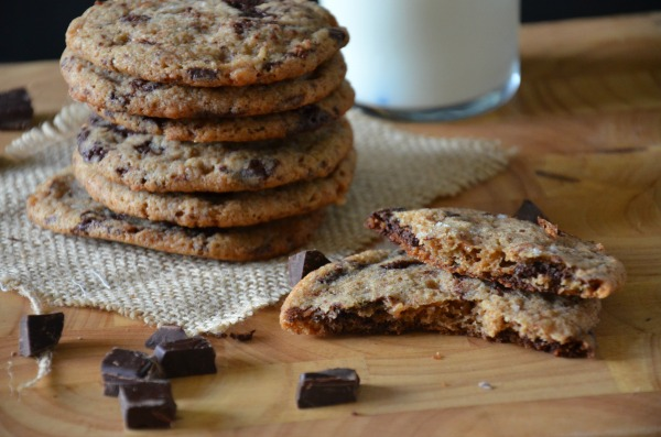 Salted Whole Wheat Chocolate Chunk Cookies with Toffee, www.mountainmamacooks.com