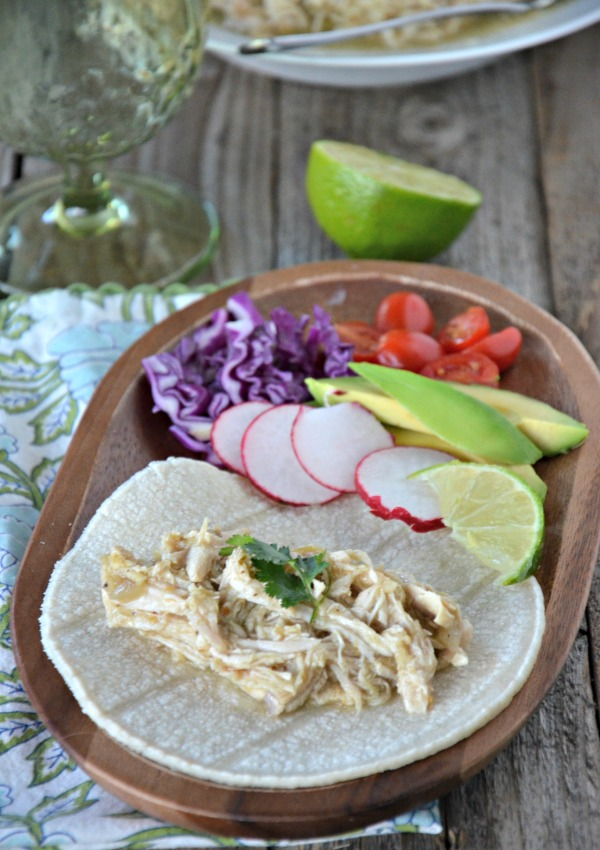 Slow Cooker Green Chili Chicken Tacos | mountainmamacooks.com
