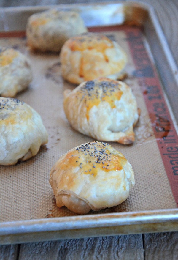 Garlic Mushroom Sliders wrapped in Puff Pastry with Sharp Cheddar, mountainmamacooks.com