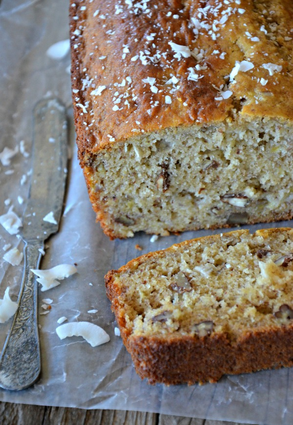 Gluten Free Coconut Banana Bread with Walnuts, www.mountainmamacooks.com