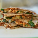 Barbecue Chicken Quesadillas with Spinach and Caramelized Onions