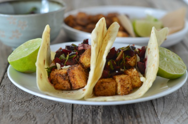 Crispy Tofu Tacos with Cherry Salsa | mountainmamacooks.com