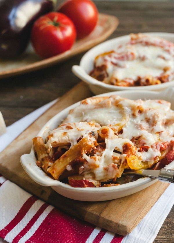 Baked Ziti with Roasted Eggplant and Peppers www.kitchenconfidante.com ...