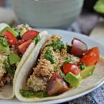 Crispy Eggplant Tacos with Cilantro Sauce