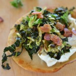 Crispy Kale and Brussels Sprout Tacos with Bacon and Whipped Feta