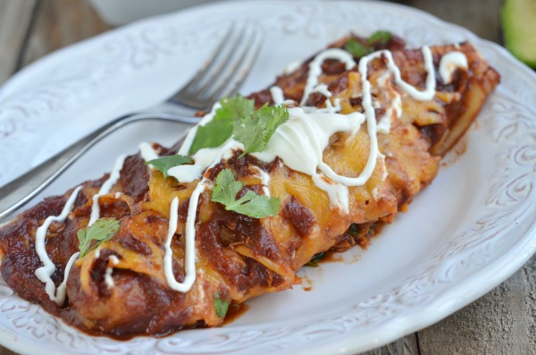 BBQ Chicken Enchiladas with Sweet Potato and Black Beans | mountainmamacooks.com