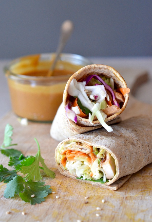 Thai Chicken Wrap with Peanut Sauce | mountainmamacooks.com