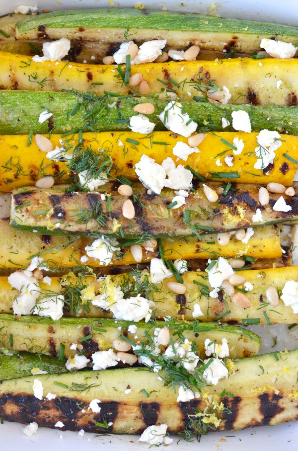 Grilled Summer Squash with Feta, Lemon and Fresh Herbs - Mountain Mama ...