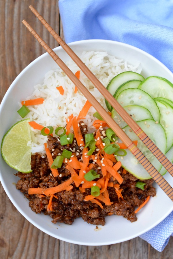 30 Minute Korean Beef Rice Bowls | mountainmamacooks.com