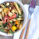 Pasta Salad with Kale, Cheddar, Apples & Candied Pecans