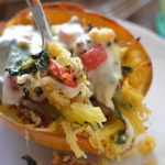 Twice Baked Spaghetti Squash with Sausage and Kale
