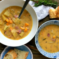 Slow Cooker Ham Potato Soup | mountainmamacooks.com
