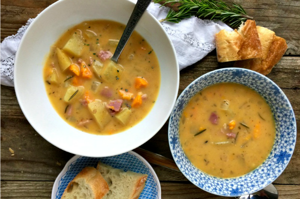 Slow Cooker Ham Potato Soup | mountainmamacooks.com