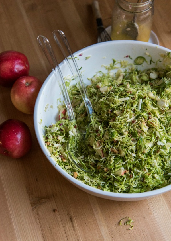 Shredded Brussels Apple Salad with Pancetta and Hazelnuts | mountainmamacooks.com