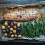 Sheet Pan Salmon Dinner with Baby Potatoes and Green Beans