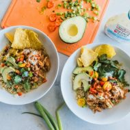 Slow Cooker BBQ Chicken Quinoa Bowls | www.mountainmamacooks.com