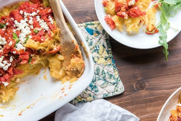 Baked Spaghetti Squash with Feta and Tomatoes | www.mountainmamacooks.com